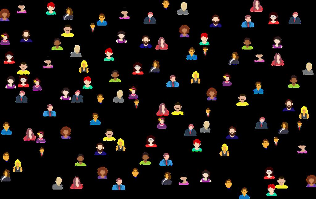 Graphisch dargestellte Menschen ohne konkrete Gesichtszüge mit Linien zwischen ihnen, um Verbindung zu zeigen.